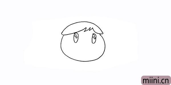 5.再在眼睛里面画出圆圆的眼珠。