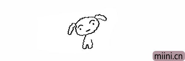 5.向下画出小白短短的两只前腿。