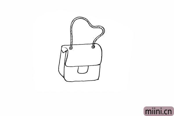 7.在前方画出一个长方形作为包包的按扣。