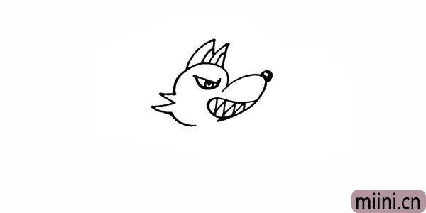 7.在头顶部画出大灰狼尖尖的耳朵。