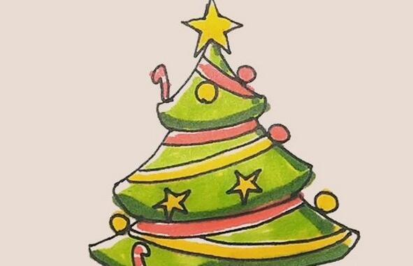 圣诞树简笔画教程