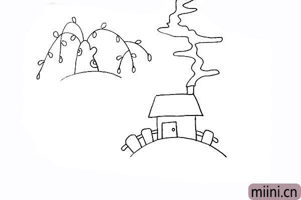 10.在房子的周围沿着地平线画上可爱的小栅栏。