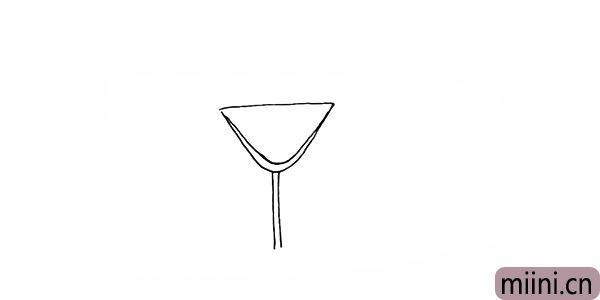 3.向下画出杯子长长的的杯柄。
