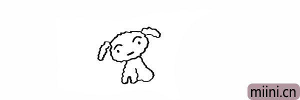 6.然后向后画出小白的身体部分。