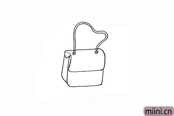 5.接着画出两段弯曲的曲线是包包的带子。