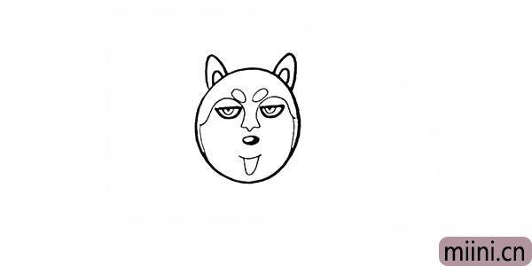 8.头顶部画出两只尖尖的耳朵和轮廓。