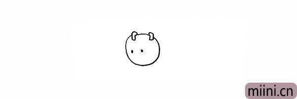 3.然后画出毛毛虫又小又圆的眼睛。