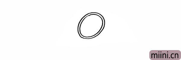 2.再画出羽毛球拍外部的轮廓。