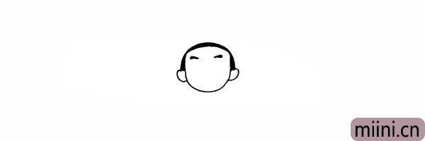5.接着画出哪吒短短的眉毛。