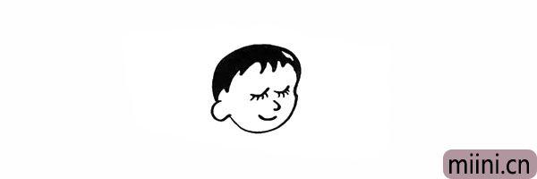 6.然后画出宝宝的刘海和头发部分。