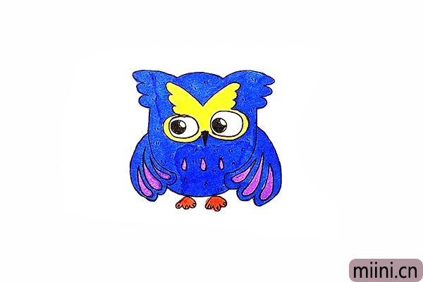 15.最后把画好的猫头鹰涂上漂亮的颜色吧。