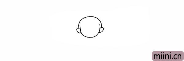 3.在头部的两侧画出哪吒的耳朵。