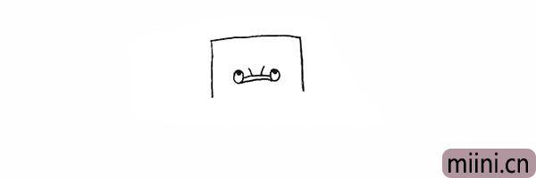 3.在眼睛中间画上树爷爷鼻子上的皱纹。