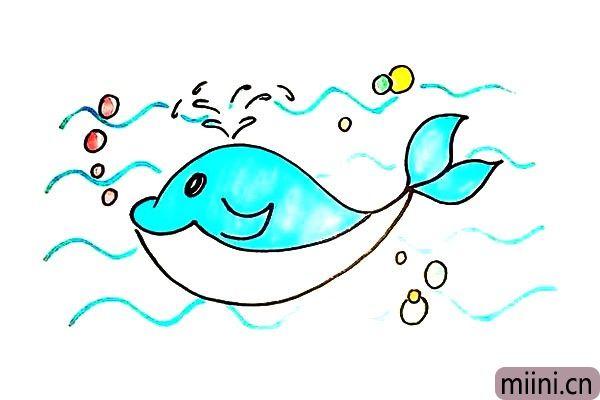 9.最后就可以给鲸鱼涂上颜色了。