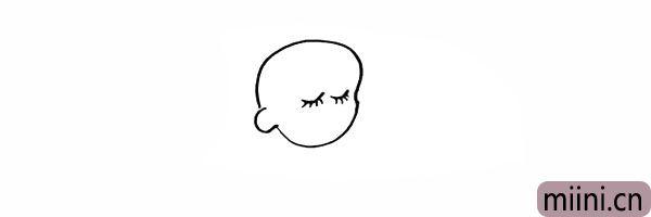 4.画出闭着的眼睛和长长的睫毛。