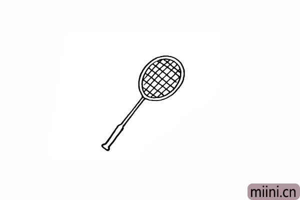 5.在球拍内侧画出网格状的线条。