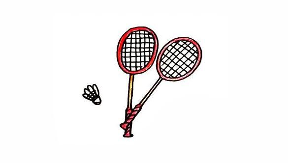 羽毛球拍简笔画步骤教程