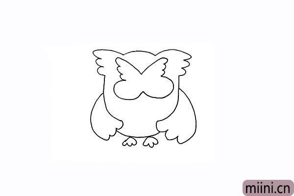 8.沿着头部羽毛画出大大的眼眶。