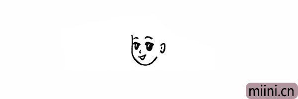 5.我们在一侧画出女孩的耳朵。