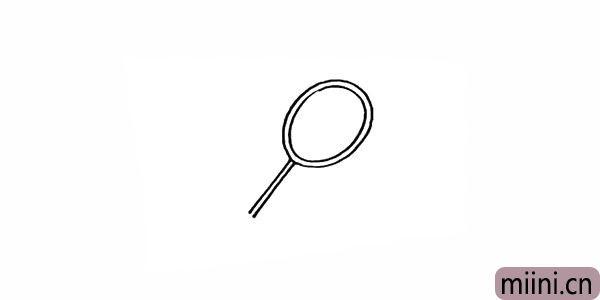 3.画出羽毛球拍细长的杆。
