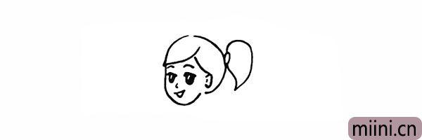 6.接着用曲线勾勒出女孩的头发形状。