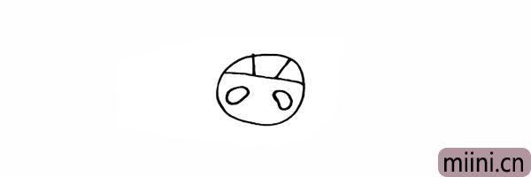 3.然后画出福娃大大的熊猫眼。
