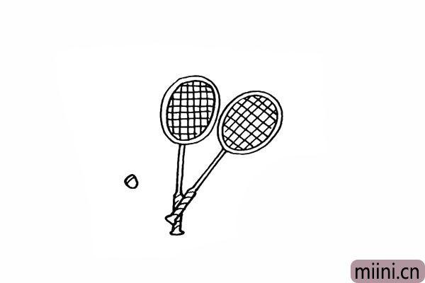8.在傍边画出一个椭圆形的球头。