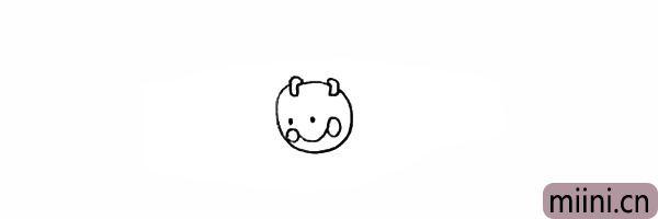 4.画出它上扬的嘴巴和圆圆的脸蛋。