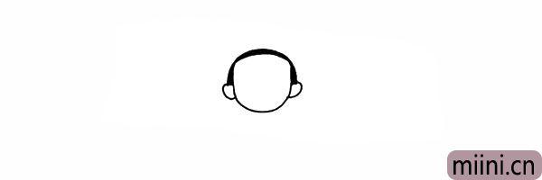 4.头顶画上哪吒黑色的头发部分。