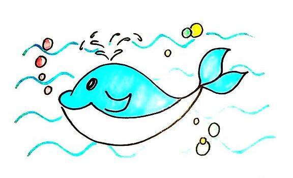 海洋霸主鲸鱼简笔画步骤教程