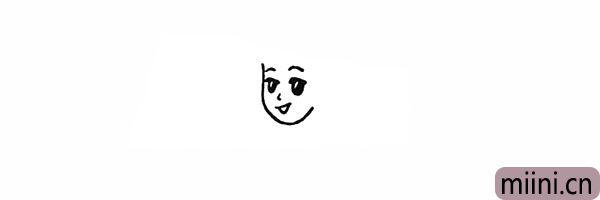 4.在眼睛的上方画出两条细长的眉毛。
