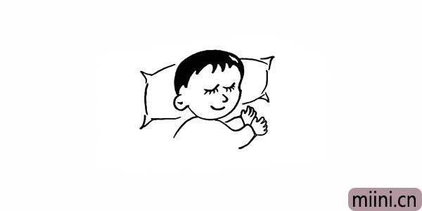 9.接着在头部位置画上宝宝的枕头。