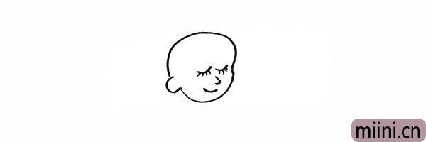 5.再画出宝宝的鼻子和笑着的嘴巴。