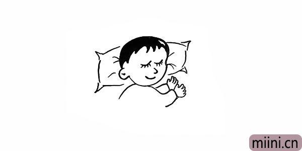 10.画出枕头上的褶皱纹路。