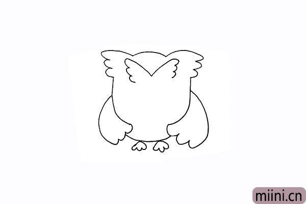 7.画出头上像翅膀一样的羽毛部分。
