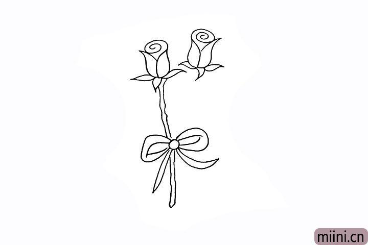 6.花茎可以画的稍微弯曲一些。