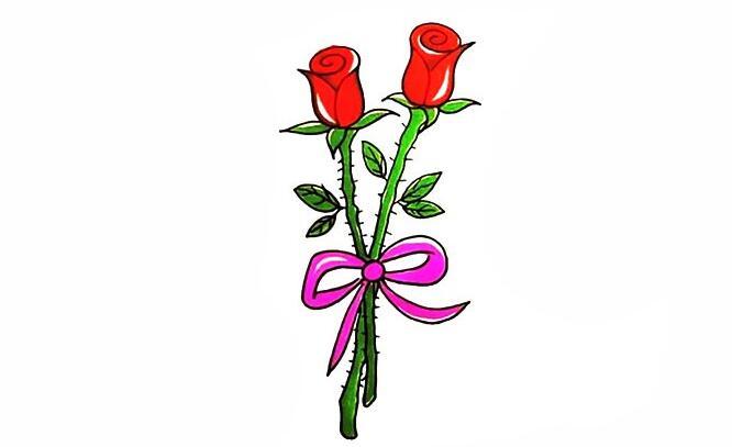玫瑰花简笔画的画法