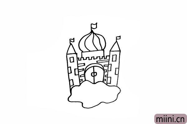 7.接着在城堡顶上画三面旗帜。