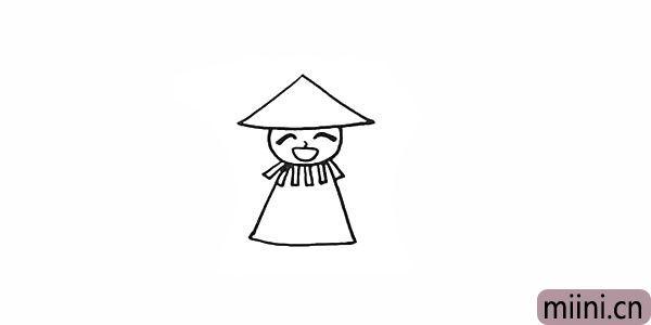 6.在脖子的部位画上一条条的稻草。