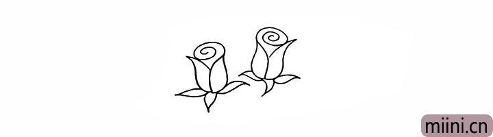 4.同样的画法在左侧画出另一朵玫瑰。