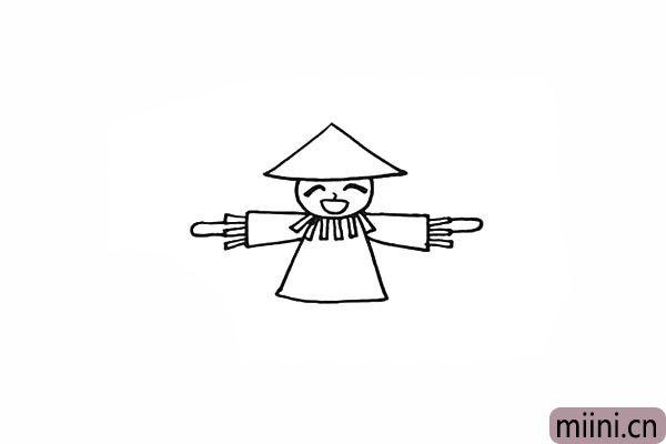 9.再画出一根木棍连接肩部。