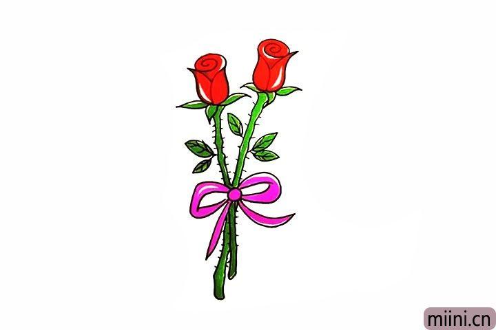 10.最后给玫瑰花涂上漂亮的颜色吧。
