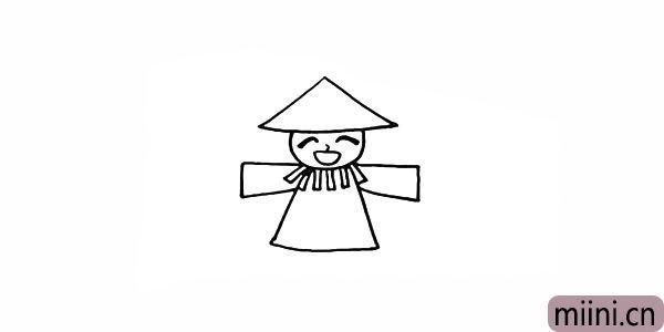 7.画出稻草人伸展开的胳膊。
