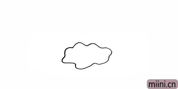1.首先我们画出一片美丽的云朵。