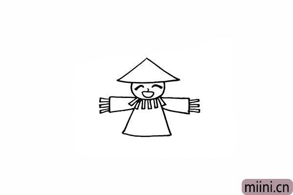 8.袖口的位置也画上长条状的稻草。