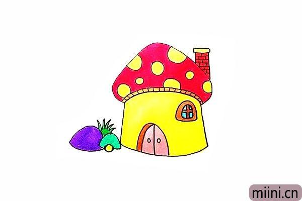 14.最后就可以给蘑菇房涂上漂亮的颜色了。