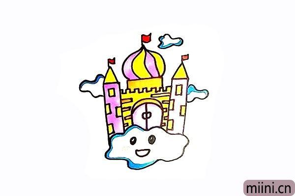 9.最后就可以给空中城堡涂上颜色了。