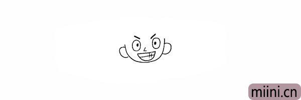 5.在脸部的两侧画出两只耳朵。