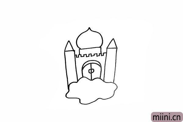 5.在顶部画出仙桃状的城堡顶。