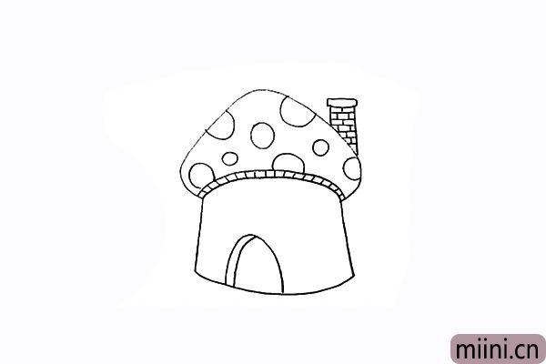 8.用半椭圆在墙壁上画出一扇拱门。